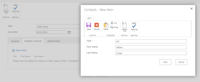 Adding a related item from a new SharePoint form