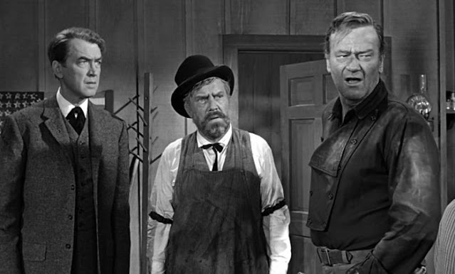 James Stewart, Edmond O'Brien and John Wayne