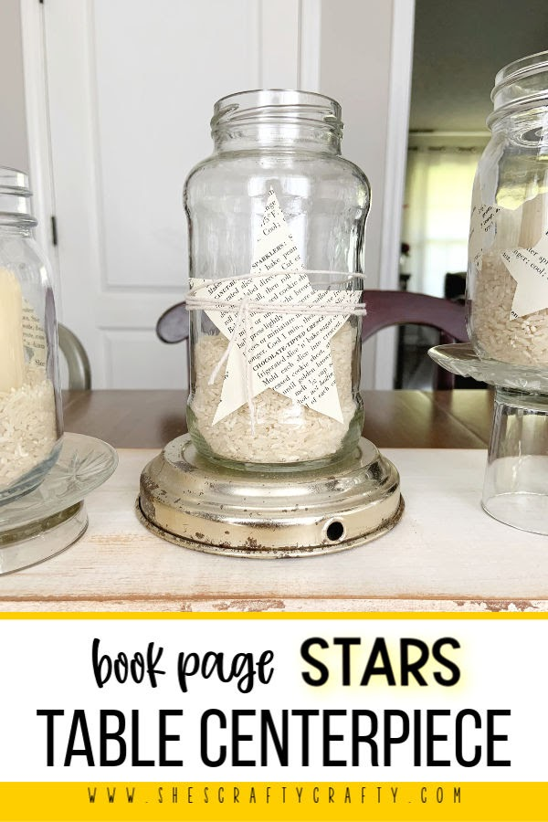 How to make a centerpiece for your table with stars from book pages - jars, book pages, repurposed supplies