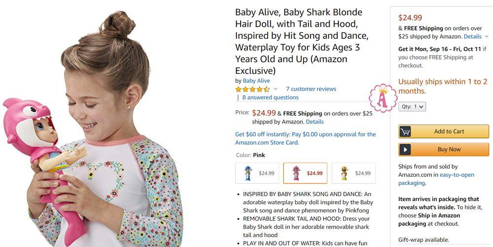 Цена пупса Baby Alive Baby Shark