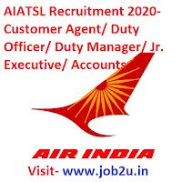 AIATSL Recruitment 2020- Customer Agent/ Duty Officer/ Duty Manager/ Jr. Executive/ Accounts