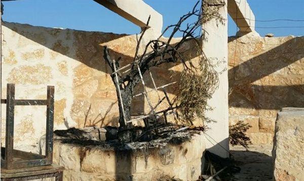 Vándalos árabes quemaron un monumento a víctimas de la Segunda Intifada