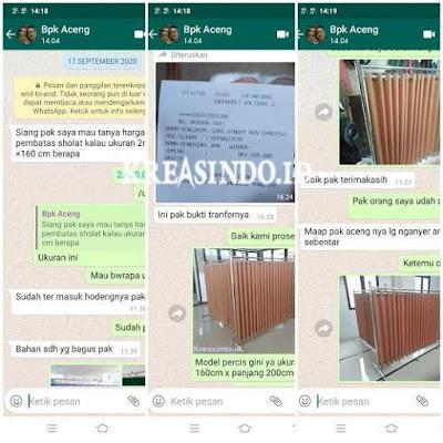 Hijab Masjid Stainless pesanan Bpk Aceng di Kalisari Pasar Rebo Jakarta Timur