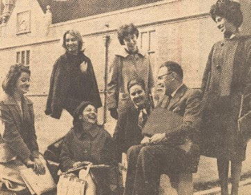 Picture of George Crofts and students outside Heslington Hall