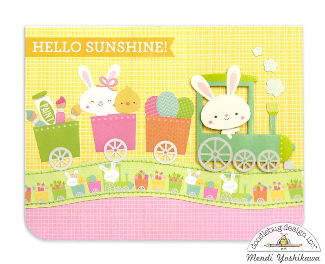Doodlebug Design Easter Express Bunny Train Card by Mendi Yoshikawa