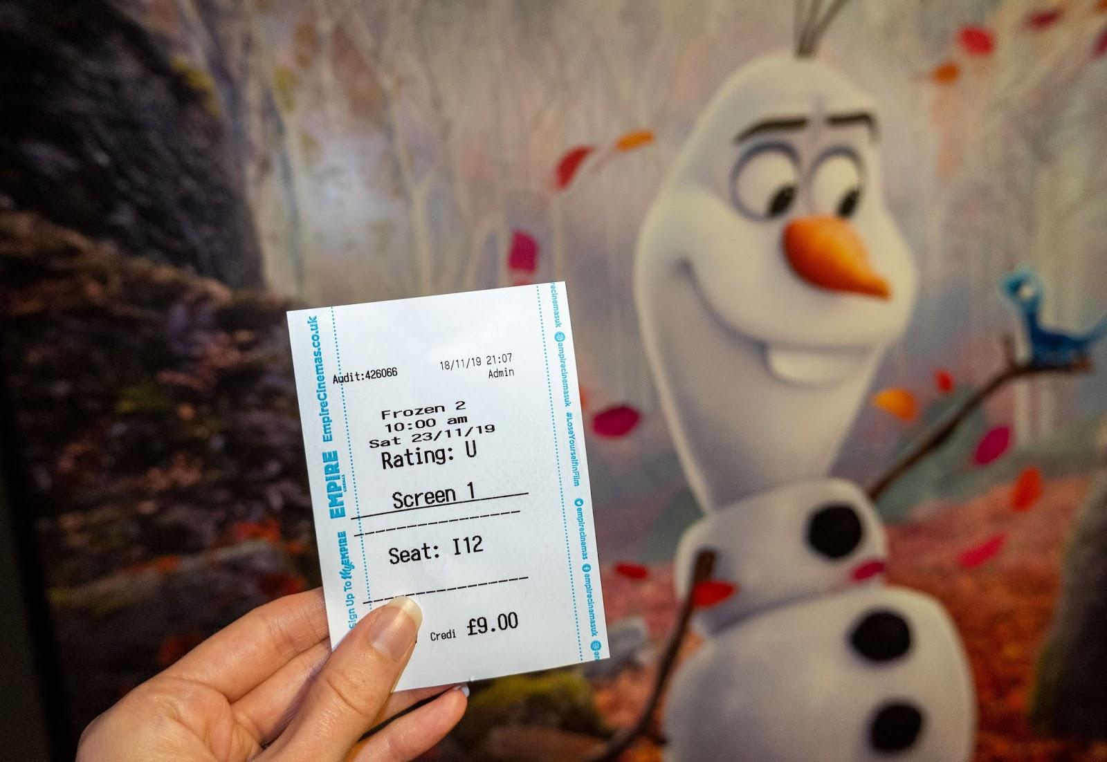 My Frozen 2 cinema ticket