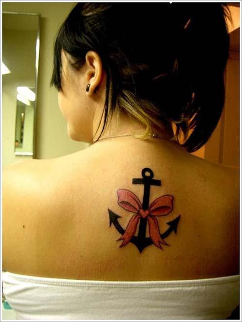 pink cord anchor tattoo pembe kurdele çapa dövmesi