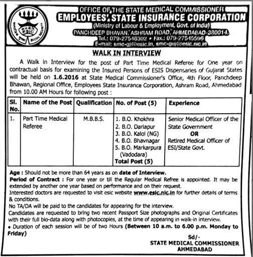 ESIC, Ahmedabad Part Time Medical Referee Recruitment 2016