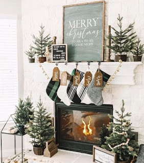Cozy Mantel covered in Holiday Decor
