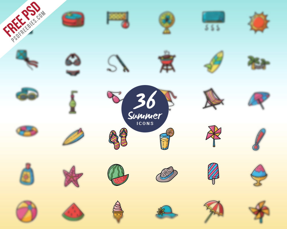 36 Summer Vacations And Holidays Icon PSD