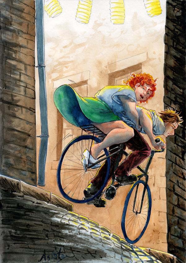 poursuite à vélo sur les pavés