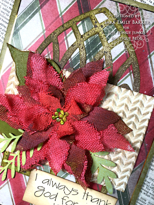 Sara Emily Barker https://sarascloset1.blogspot.com/2020/11/i-always-thank-god-for-you.html #timholtz #sizzix #catherdralwindow #knitted3Dembossing #elegant poinsettia Mixed Media Card 6
