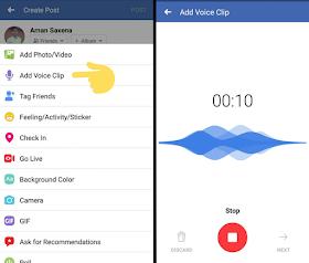 add facebook voice clip status