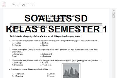 Kumpulan Soal Latihan UTS SD Kelas 6 Semester 1