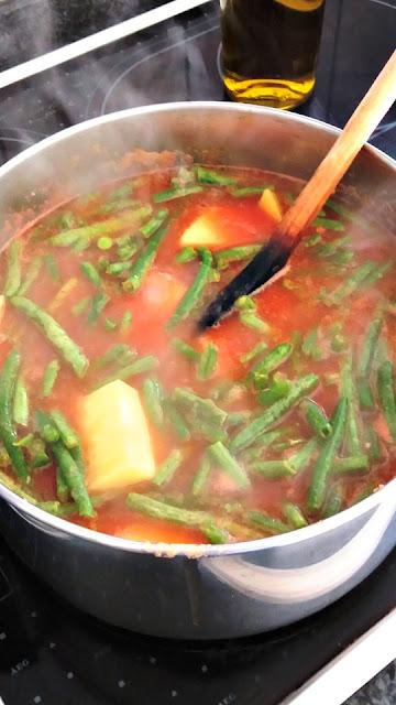 Greek Cuisine.Fassolakia Lathera. Green Beans in Tomato Sauce