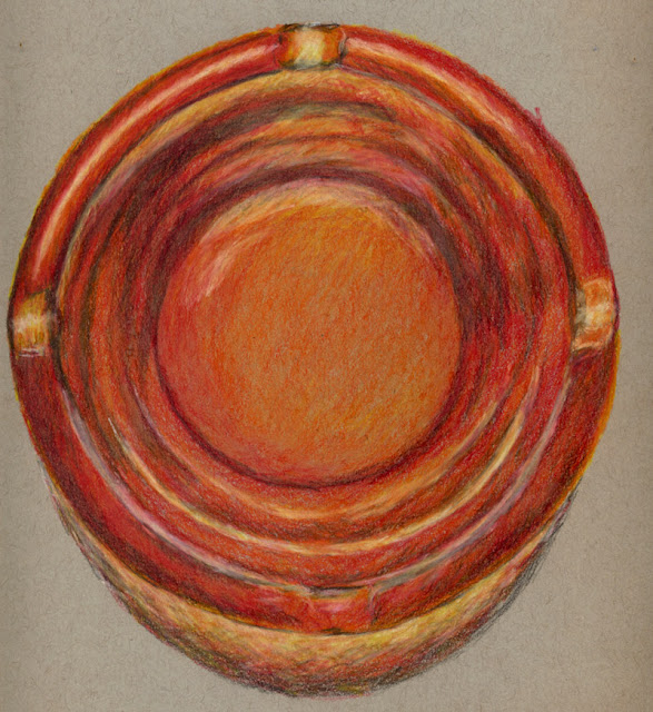 Colored pencil drawing of large ashtray