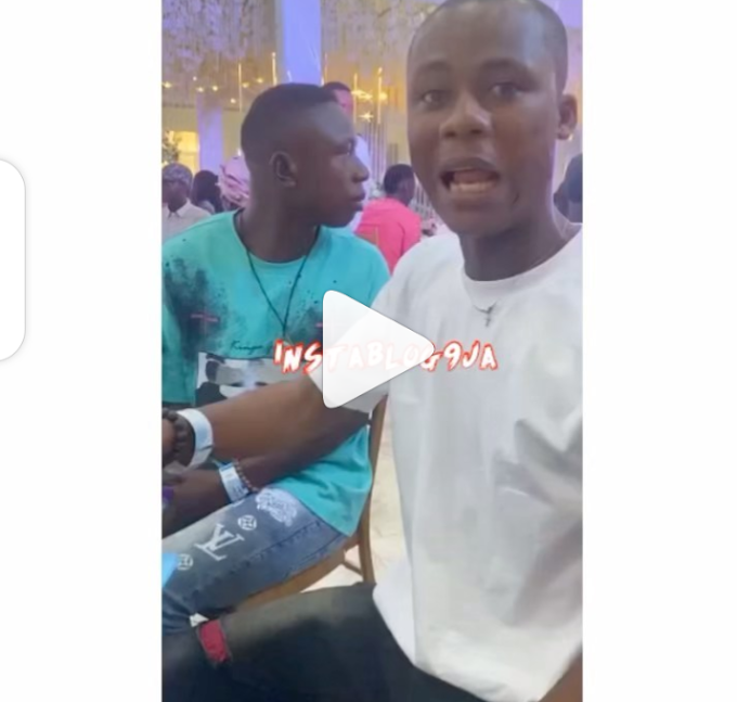 Reactions as Man Steals Plate and Spoon at Event, Refuses to Spray Cash Because he Hasn't Been Served Food (Video)