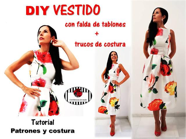 DIY. VESTIDO con FALDA DE TABLONES y CUELLO BARCO + TRUCOS  de COSTURA
