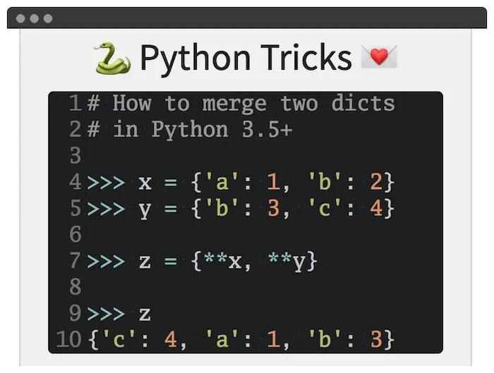 مثال قاموس من Python Tricks.