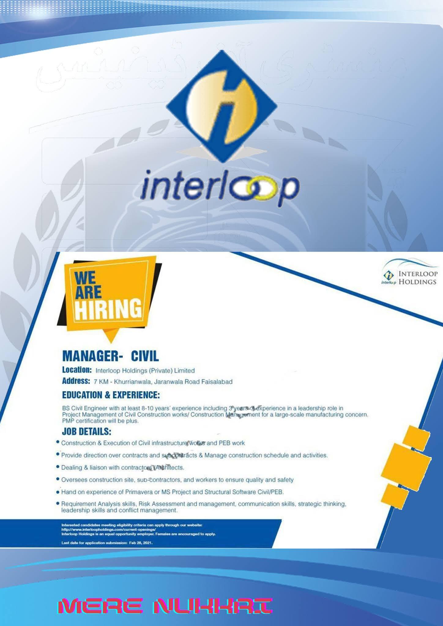 Latest jobs in Pakistan- Interloop Private Limited Faisalabad Latest Jobs 2021  Apply Online
