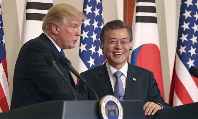 South Korea's president credits Trump for talks with North Korea