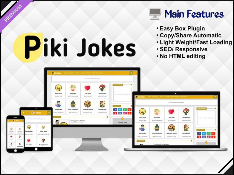 Piki Jokes Template - Responsive Blogger Template