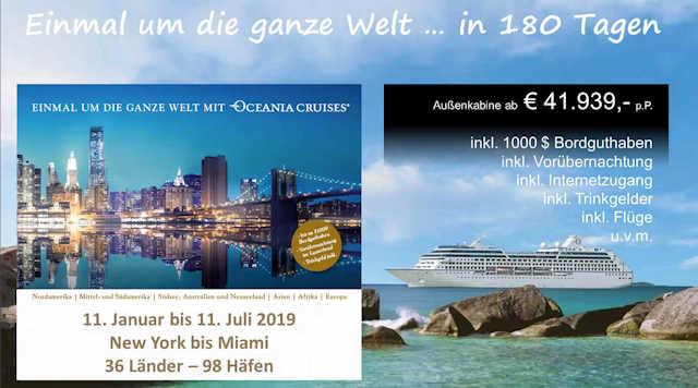 Weltreise 2019 mit Oceania Cruises (C) Oceania Cruises