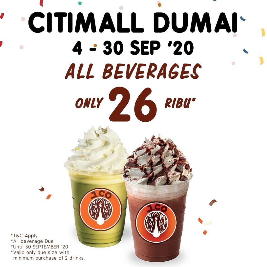 JCO CitiMall Dumai Promo All Beverages Cuma 26Ribu Periode 4 - 30 September 2020