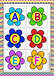 Alfabeto Flores para utilizar na chamadinha da turma ou no Jogo Pedagógico do Alfabeto