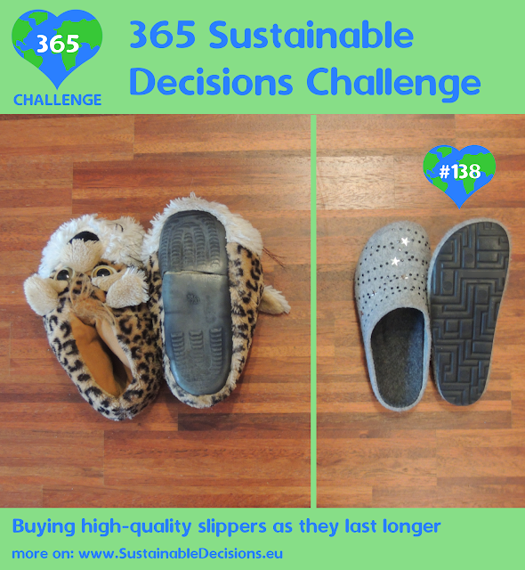Buying high-quality slippers as they last longer reducing plastic waste