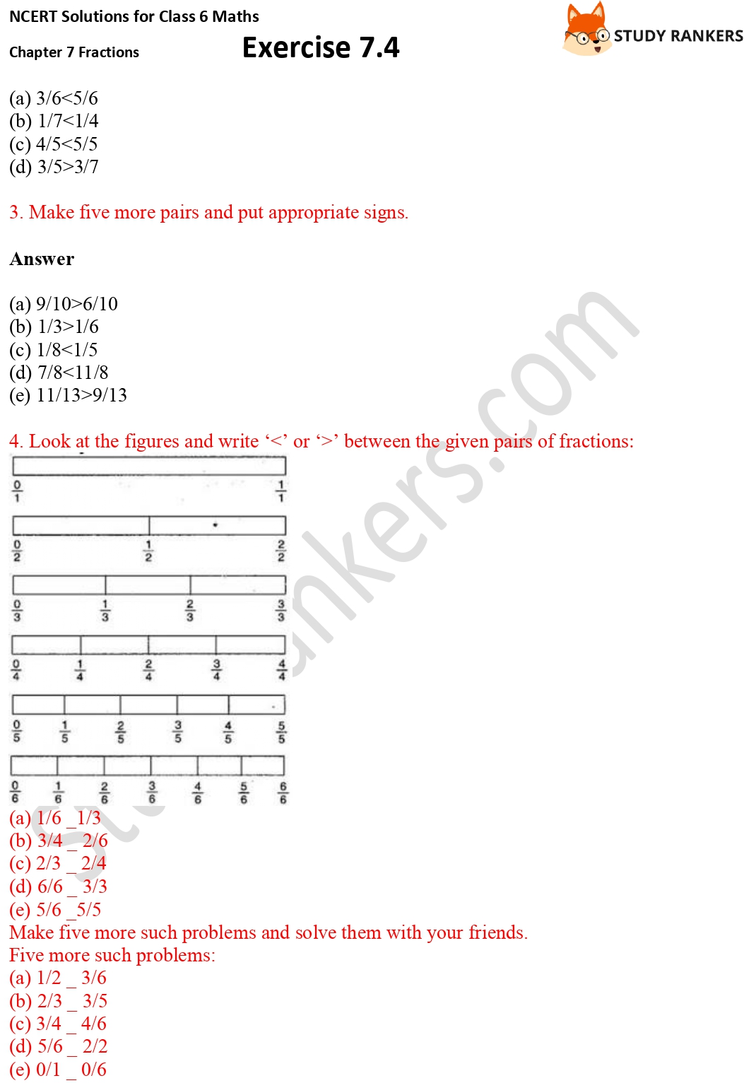NCERT Solutions for Class 6 Maths Chapter 7 Fractions Exercise 7.4 Part 2