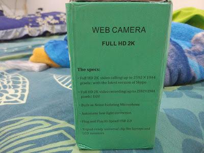Tampilan Samping Kanan Kotak Kemasan Generic Autofocus Webcam 2K Full HD