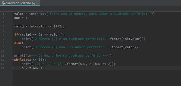 Script Python número quadrado perfeito