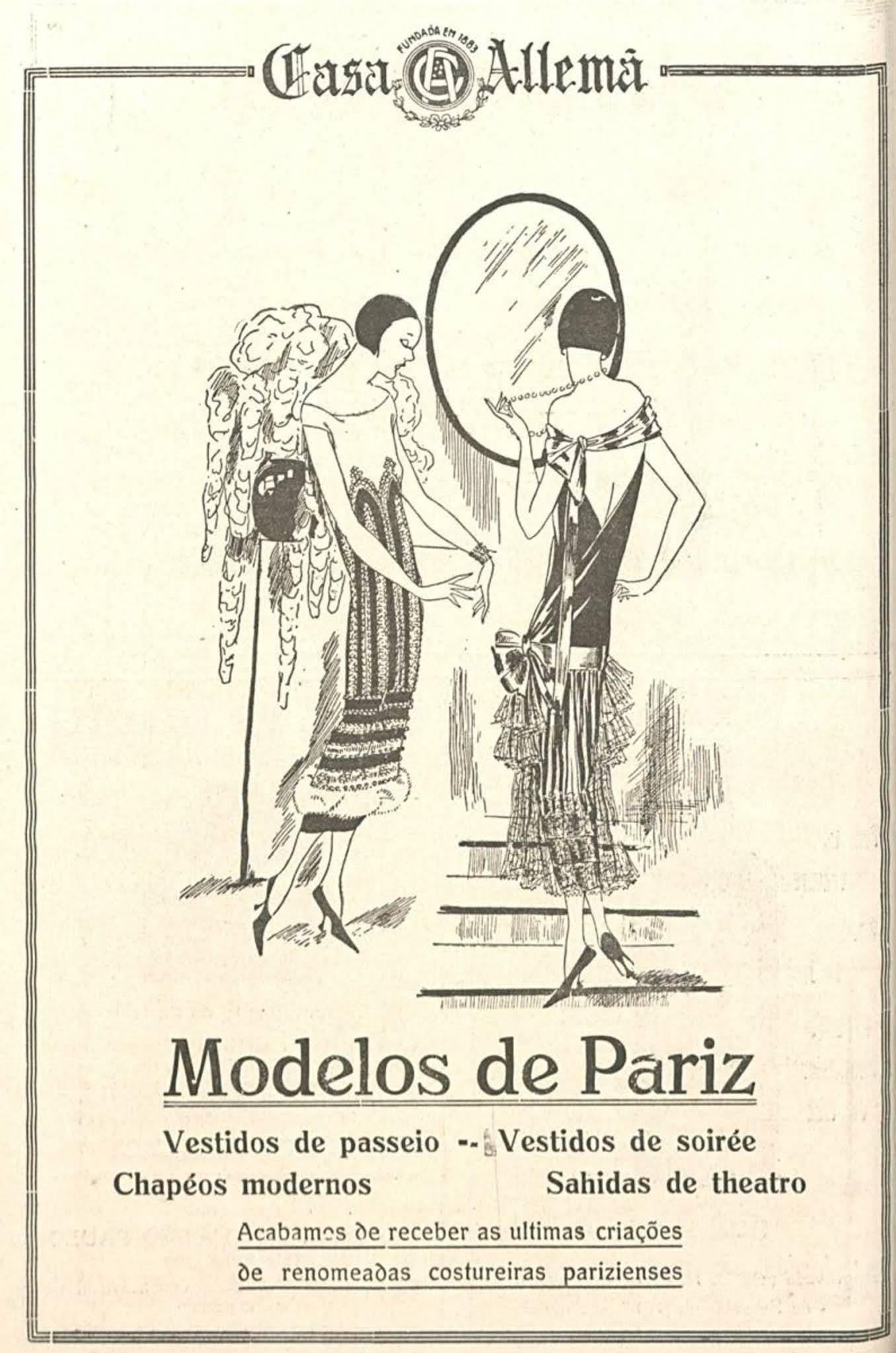 Propaganda antiga da Casa Alemã com o melhor da moda internacional para os brasileiros em 1924