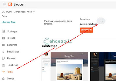mencadangkan template situs di blogger