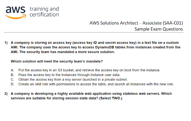 free AWS solution architect dumps and sample questions