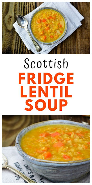 Scottish Fridge Lentil Soup. A traditional Scottish soup made with red lentils. This is a low calorie, low fat and easy soup which is good if you are on a budget or calorie counting to lose weight. A filling meal for families that can be frozen. #Scottishlentilsoup #lentilsoup #scottishsoup #lefoversoup #redlentils #fridgesoup #redlentilrecipes #vegansoup