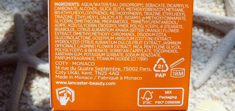 LANCASTER Sun Sensitive Luminous Tan Comforting Cream SPF50 + inci ingredients