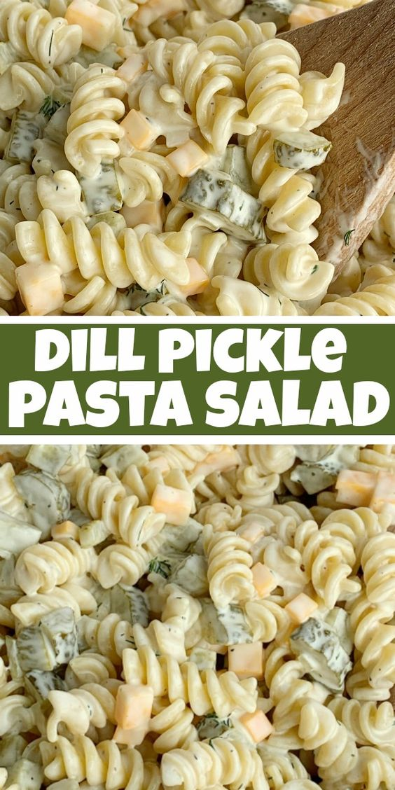Dill Pickle Pasta Salad will be an instant favorite! Tender spiral pasta, 2 cups of diced pickles, cheese, and onion covered in a ultra creamy homemade dill dressing with pickle juice.