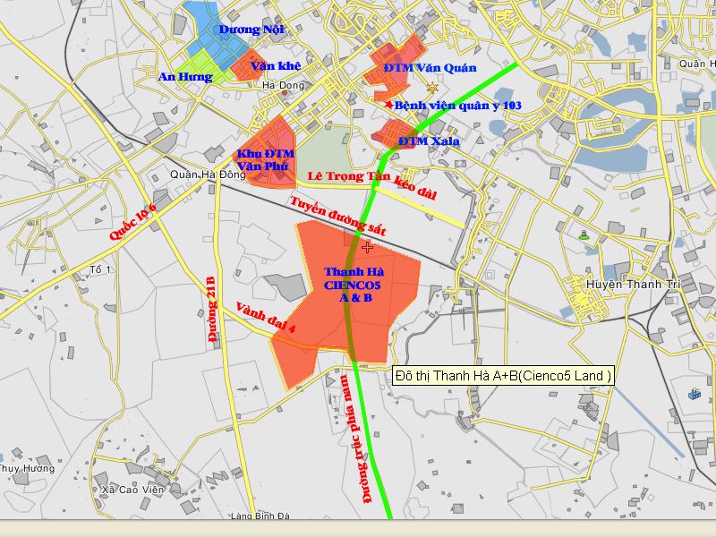 Bản đồ khu đô thị liền kề Thanh Hà - Mường Thanh
