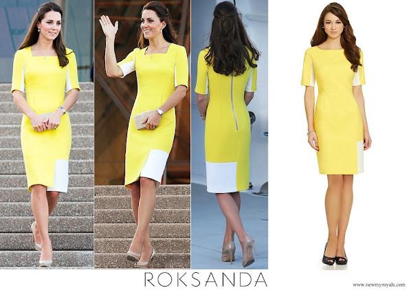 Kate Middleton wore Roksanda Ilincic Ryedale yellow wool crepe dress