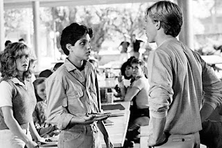 Elisabeth Shue, Ralph Macchio y William Zabka en The Karate Kid (1984)