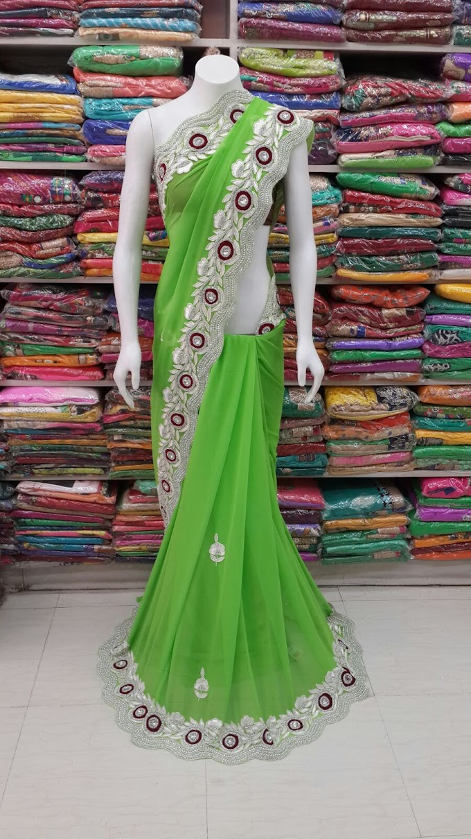 Perrot Green saree full hand woek border and butta with blouse