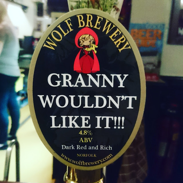Norfolk Craft Beer Review: Granny Wouldn't Like It!!! from Wolf Brewery real ale pump clip