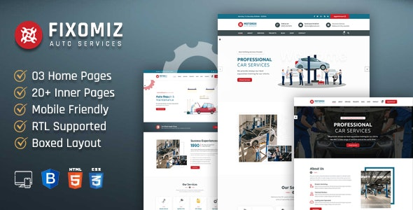 Car Repair HTML Template + RTL
