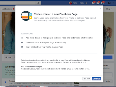your Facebook personal account will be successfully converted to a Facebook page