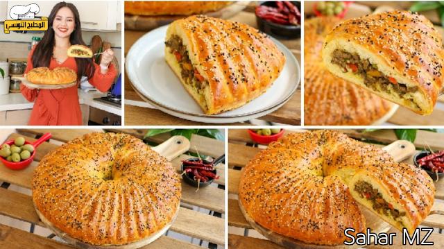 خبزة محشية عائلية بعجينة طرية