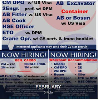 Jobs For Workboat, Gen Cargo, Container Vessel (Philippines)