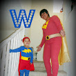 Homemade Word Girl and Captain Huggy Face Costume