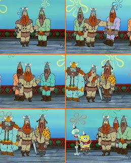 Polosan meme spongebob dan patrick 115 - spongebob di kapal viking